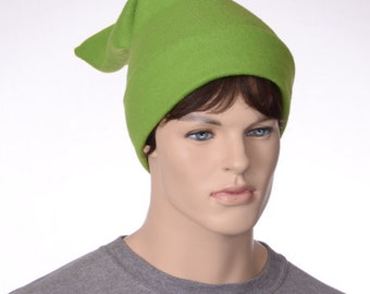 Brilliant Green Pointed Elf Hat Stocking Cap Ogre Dwarf Cap Long Pointed Beanie