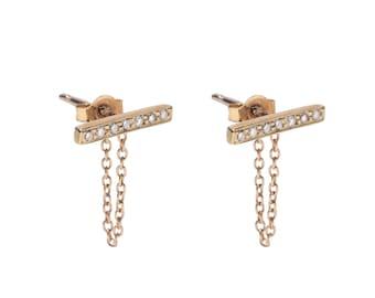 Chained bar post earrings- Diamond