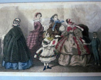 Antique Godeys Fashions hand painted color print Valentines