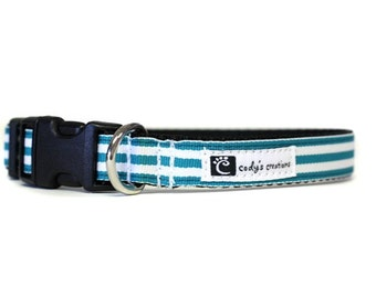 5/8 or 3/4 Inch Wide Dog Collar with Adjustable Buckle or Martingale in Beach Chair