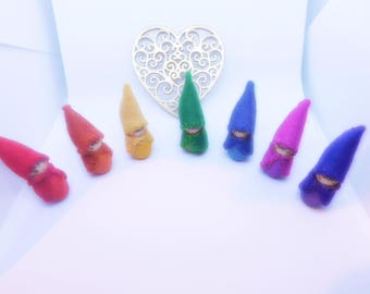 Rainbow Bright Colours A Set of Seven Wood Baby Bee Peg dolls Waldorf Craft