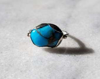 Fine silver petal and turquoise ring, size 7