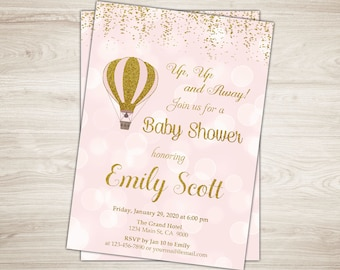 Hot Air Balloon Baby Shower Invitation. Up Up & Away Baby Shower Invitation. Girl Baby Shower Invite Pink Gold Glitter Printable Invitation