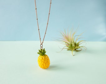Pineapple fruit necklace, Tropical jewelry, Tropical fruit, Summer necklace, Pineapple jewelry, Yellow necklace, Fruit motif, Gift Under 30