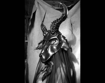 Leather mask of black Baphomet goat, Black Phillip, very tall horns