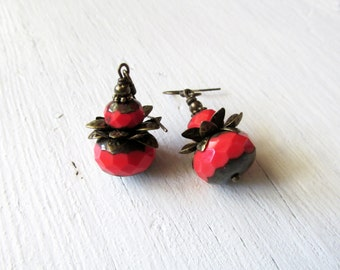 Coral Drop Earrings: Czech Glass and Antique Brass