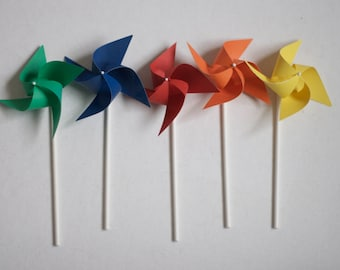 24 Carnival Circus Party paper Pinwheels red yellow blue aqua twirling pinwheels custom orders welcomed