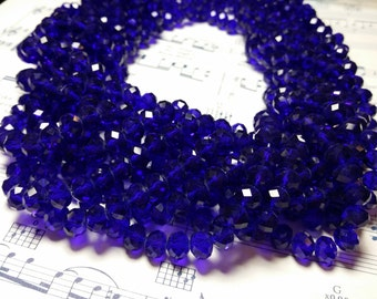 Glass Beads - 42 pcs - 8mm x 6mm - Faceted Beads - Blue Faceted Beads  -  Cobalt Blue Beads - Rondelle Beads  - Blue Glass Beads