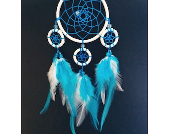 Blue and white 4 ring dream catcher, blue web with white and blue feathers 7cm diameter - dreamcatcher hand made