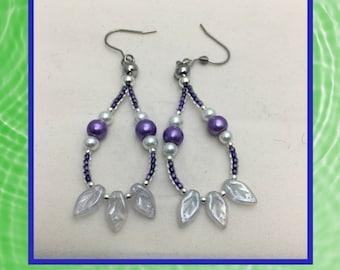 White Leaf Dangle Earrings - White and Purple Beaded Earrings - Tear  Drop Dangle Earrings - One of a Kind Earrings - Handcrafted Earrings