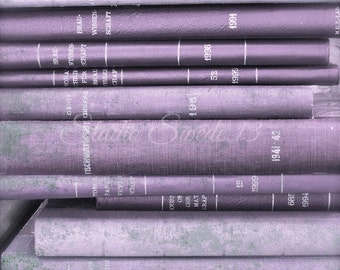 "Book Photography, Old Book Art, Lavender Shabby Cottage Chic Art, Rustic Purple Antique Book Art, Library Office Print- ""Lavender Library"""