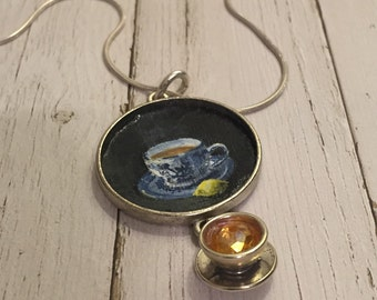 "Miniature painting pendant necklace, hand painted pendant, ""Tea"""