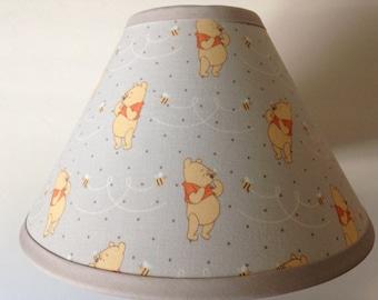 Winnie the pooh lamp etsy winnie the pooh fabric nursery lamp shadebaby gift aloadofball Gallery