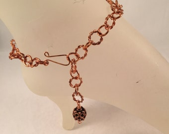 Copper Ankle Bracelet with Antique Copper 12mm Bead Charm Adjustable up to 10.75 Inches Long with Your Choice of Clasp
