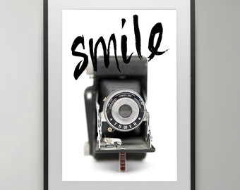 Happy face, Smile Print, Camera print, Vintage Smile Print Camera, Photography, Wall Art, Digital Download Art, Poster, Home decor.