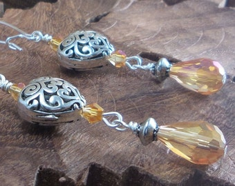 SALE.  Valentine dangle earrings!!! Silver Plated Heart Filigree and Iridescent Amber Swarovski Crystals Women's earrings Ref.#E05