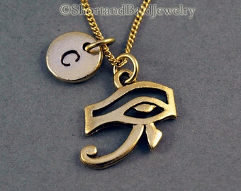 Eye of Ra Necklace, Eye of Re, Eye of Horus, antique gold, initial necklace, initial hand stamped, personalized, monogram