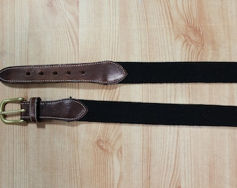 Men's Black Surcingle Wool and Brown Leather Belt with Brass Buckle Size 40