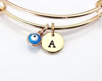 Rose Gold Evil Eye Bracelet, Evil Eye Bangle, Tiny Evil Eye Charm, Kabbalah Jewish Gift, Luck Gift, Protective Gift, Personalized Gift, E18