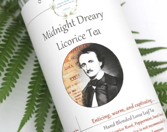 Midnight Dreary, Herbal Tea, Poe Themed, Tisane, Tea in Tin, Gift Tea, Loose Tea, Caffeine Free, Sugar Free, Edgar Allen Poe