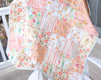 Peach baby Quilt- ready to ship, Peach crib quilt, floral crib quilt, baby girl crib quilt, baby girl quilt, baby shower gift