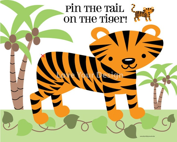 Pin the tail on the tiger birthday game digital jpeg file for maxwellsz