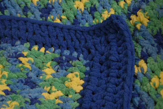 Large Fleece Dog Mat Featuring Vibrant Green & Yellow -- Comfy Cozy Crochet Dog Blanket and Pet Bed