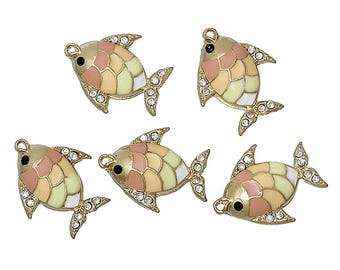 5 Gold Plated Metal Alloy Enameled Fish Charms w/ Clear Rhinestones 20x16mm (B277j)