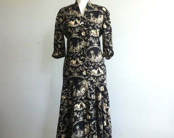 1990 classic romantic print Italian summer dress
