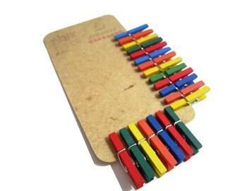 20 Mini Clothespins Mix Colors . 20 pcs . Mini 1 inch . Wooden Pegs