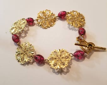 Gold Snowflakes with Red accents