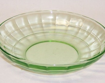 Hocking Green BLOCK OPTIC 5 1/4 Inch Diameter CEREAL Bowl