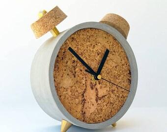 Round concrete table clock, Cork clock, Concrete clock , Christmas gift, office desk clock, Round clock, Housewarming gift, Office gift