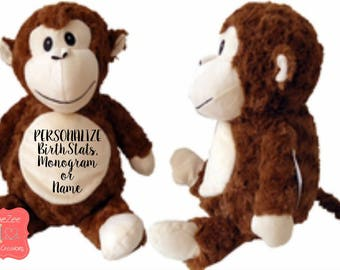 Personalized Monkey Stuffed Animal, Personalized Baby Gift , Birth Announcement Gift, Baby Shower Gift, Cubbie, Custom, Stuffy