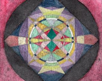 Sacred Geometry original handcolored collagraph print