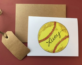 Softball Note Cards, personalized