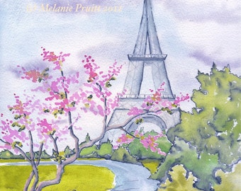 "5""x7"" Spring in Paris France Eiffel Tower ORIGINAL watercolor print by Melanie Pruitt"