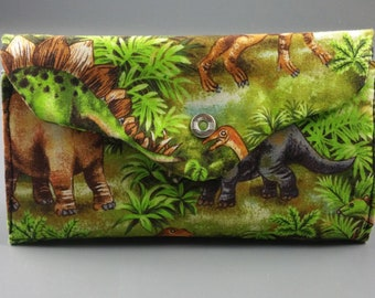 I love Dinosaurs, A tri-fold retro feel Wallet with Coin Pouch and Bill and Card Holder