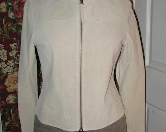 Vintage Nine West Size 4 Suede Leather Jacket Taupe