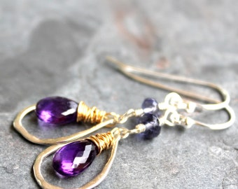 Gold Silver Two Tone Mixed Metal Amethyst Earrings with Iolite Purple Blue Sterling