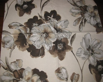 Huge Silvia Flower Water Color Pindler Designer Fabric Sample Brown