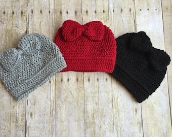 Crochet Messy Bun Bow Hat; Womens Messy Bun Hat; Bun Hat; Bow Hat; Ponytail Hat; Ponytail Bow Hat; Messy Bun Beanie; Big Bow Hat