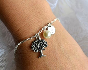 Personalized bridesmaid Bracelet set of 4 four Bridesmaid Tree of life jewelry set Bridesmaid set of 4 Bridesmaid gift set of 4