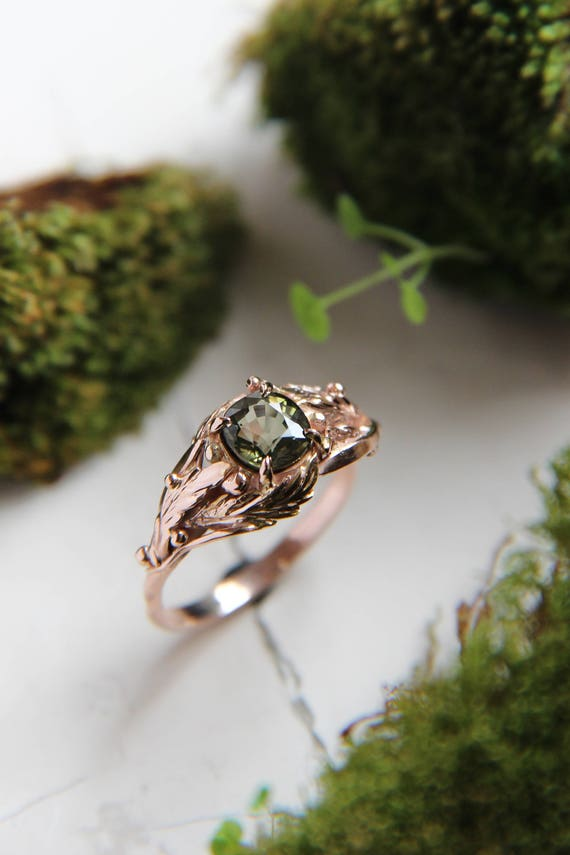 Rose gold custom engagement ring, Green tourmaline ring, Leaves nature ring, Gold unique jewelry, Promise ring, Wedding unusual band women