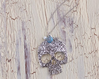 Sugar Skull Necklace with flower, pearl and key charms - Antique Silver