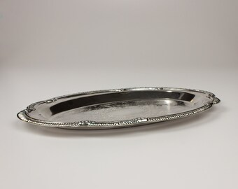 Silverplate Old Hampshire Oval Tray, Stamped Scrollwork, Original Box
