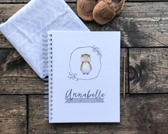 Baby Shower GuestBook. Owl Baby Journal Notebook. Custom Baby Book Milestones Memories Scrapbook Baby Shower Gift. Custom Own Baby Book
