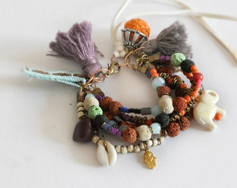 Fall Beaded Bracelet,  Gemstones Bohemian Bracelet,  Tassel Gypsy Bangle,  Autumn Colors, Free Shipping