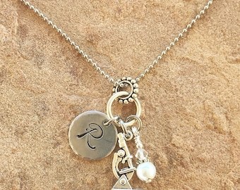 Microscope Necklace, Graduation Gift, Science Teacher Gift, Girl Initial Necklace, Monogram Necklace, Personalized Necklace, Birthstone