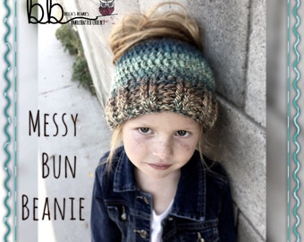 Messy Bun Crochet Beanie - Made to Order - Toddler, Child, Adult